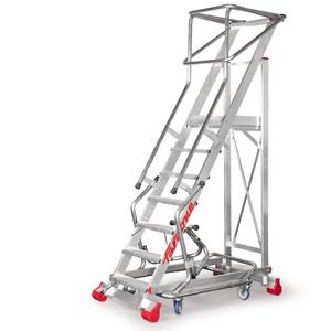 Drabina przemysłowa magazynowa DRABMAG jezdna Faraone MFTS150 - 5 stopni - 3,26m